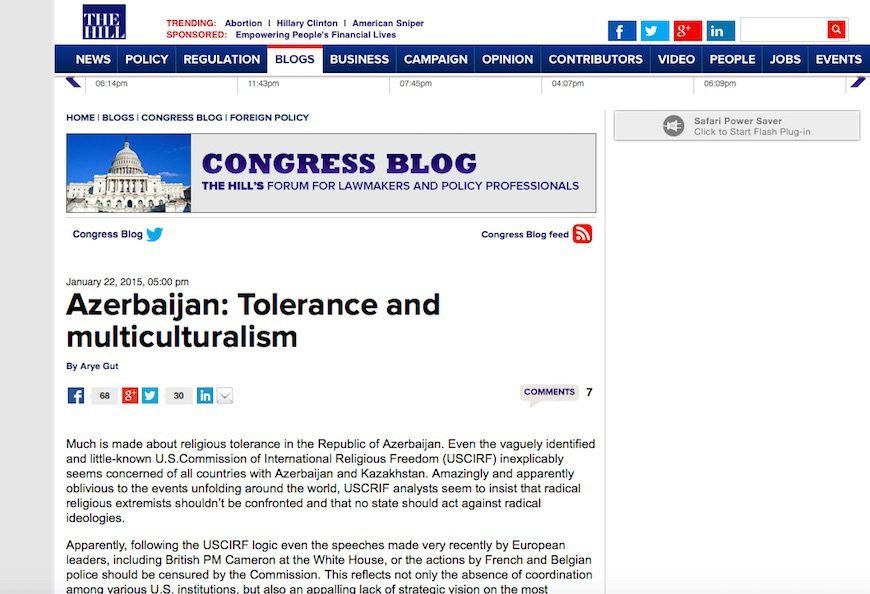 "The Hill: ""Azerbaijan: Tolerance and multiculturalism"" VIDEO"