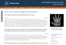 Council of Europe website highlights Azerbaijan`s measures to combat corruption