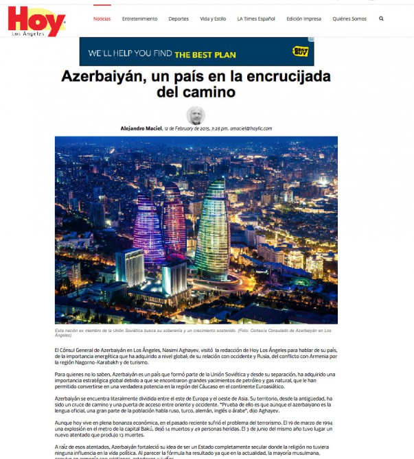 "Spanish edition of ""Los Angeles Times"": Armenia committed crimes against Azerbaijani civilians"