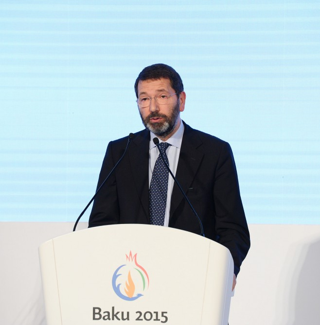 Baku 2015 European Games presented in RomeFirst lady Mehriban Aliyeva attends the ceremony