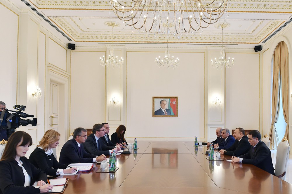President Ilham Aliyev received a delegation led by the Prime Minister of Serbia VIDEO