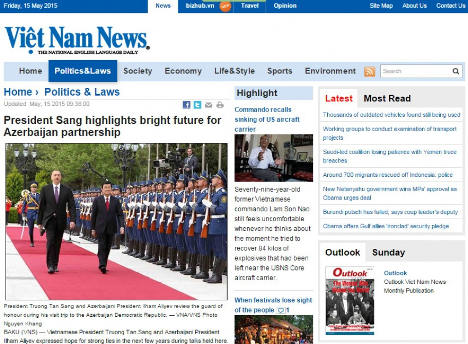 President Truong Tan Sang's Azerbaijan visit in spotlight of Vietnamese media