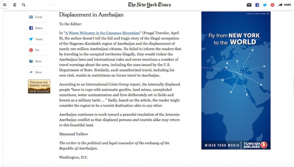 The New York Times publishes Azerbaijani Diplomat's letter in response to Armenian provocation