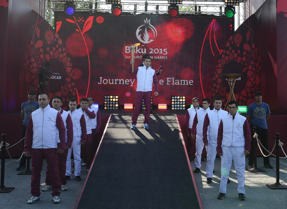 Flame of European Games arrives in Goychay VIDEO