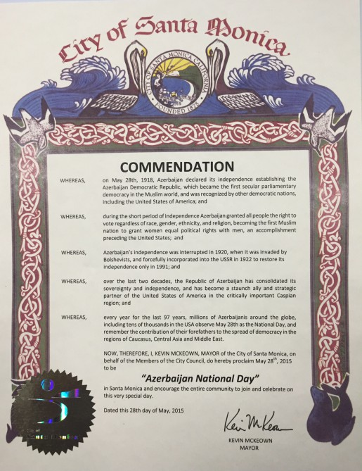 Several Western U.S. states and cities proclaim May 28th as Azerbaijan National Day