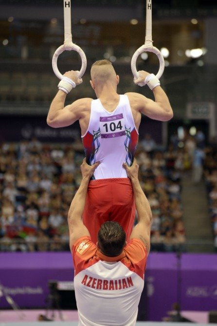 Artistic gymnasts in action at Baku Games
