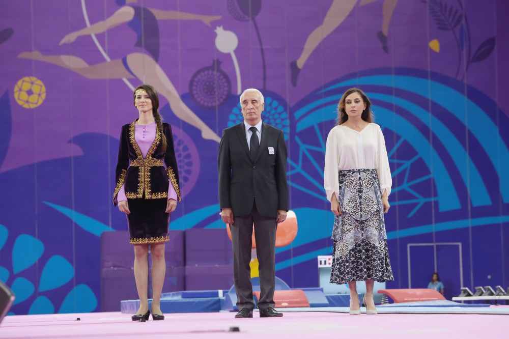 Azerbaijan`s first lady Mehriban Aliyeva presented the medals to the winners of men's individual all-around final