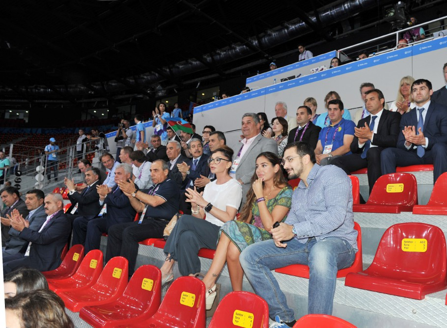 First lady Mehriban Aliyeva watches Azerbaijan vs Belgium match in women`s volleyball competition