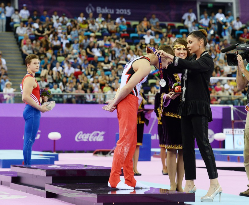 Azerbaijan`s gymnast Oleg Stepko becomes champion of the First European GamesFirst lady, chairperson of the Baku 2015 First European Games Organizing Committee, President of the Gymnastics Federation Mehriban Aliyeva presented the medals to the winners VIDEO