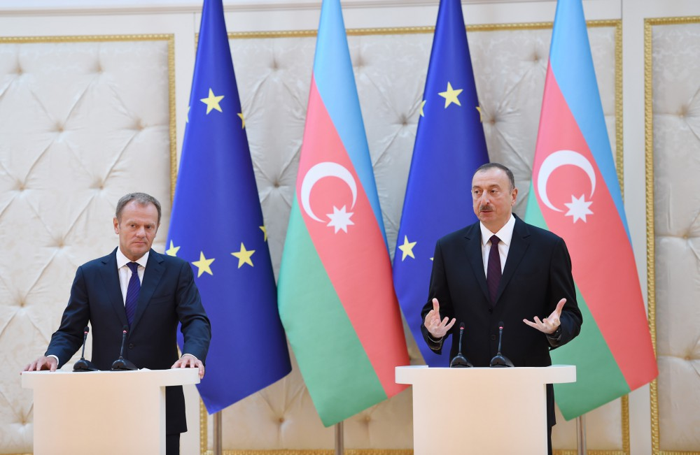 President Ilham Aliyev, President of the European Council Donald Tusk made press statements VIDEO