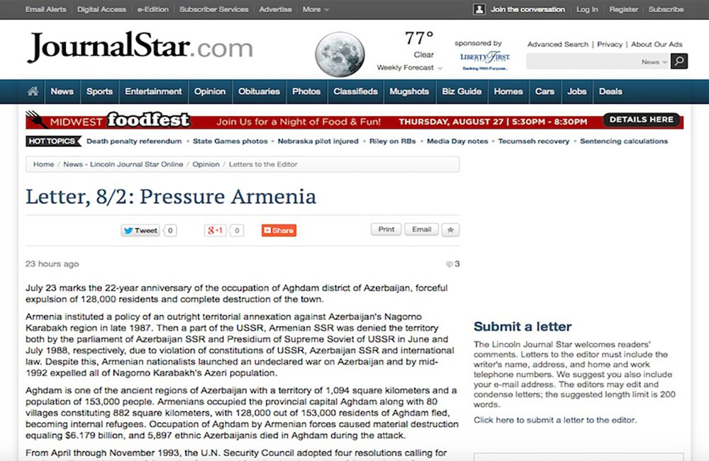Azerbaijani community urges US government to pressure Armenia