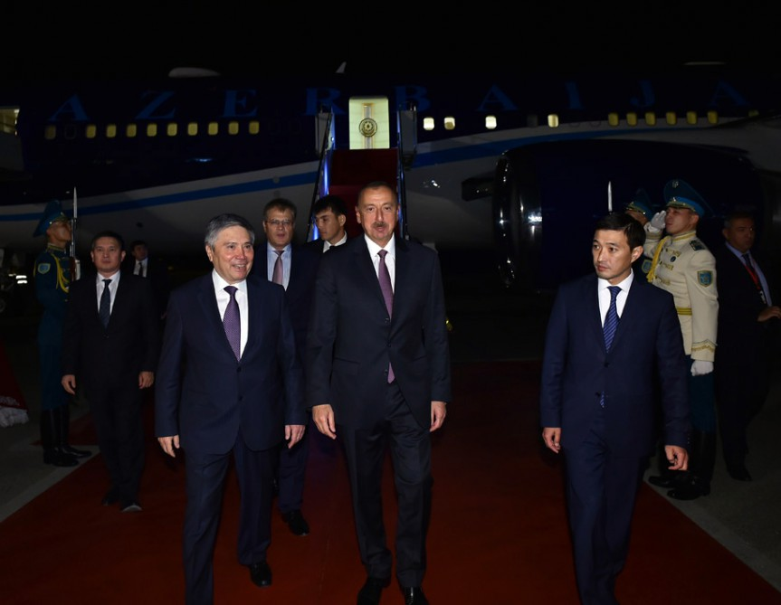 President Ilham Aliyev arrived in Astana for a working visit VIDEO