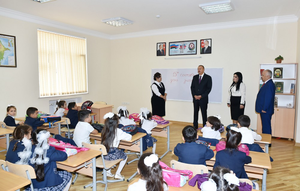 President Ilham Aliyev reviewed school No. 148 after repair and reconstruction in Baku VIDEO