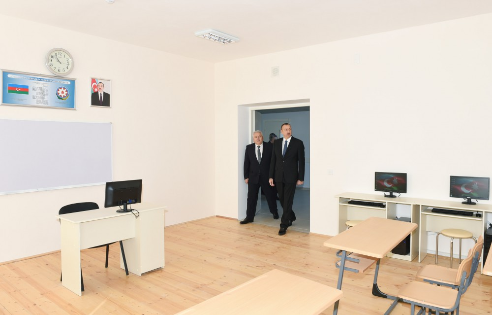 President Ilham Aliyev attended the opening of a new building of the Gokhmug village secondary school in Shaki VIDEO