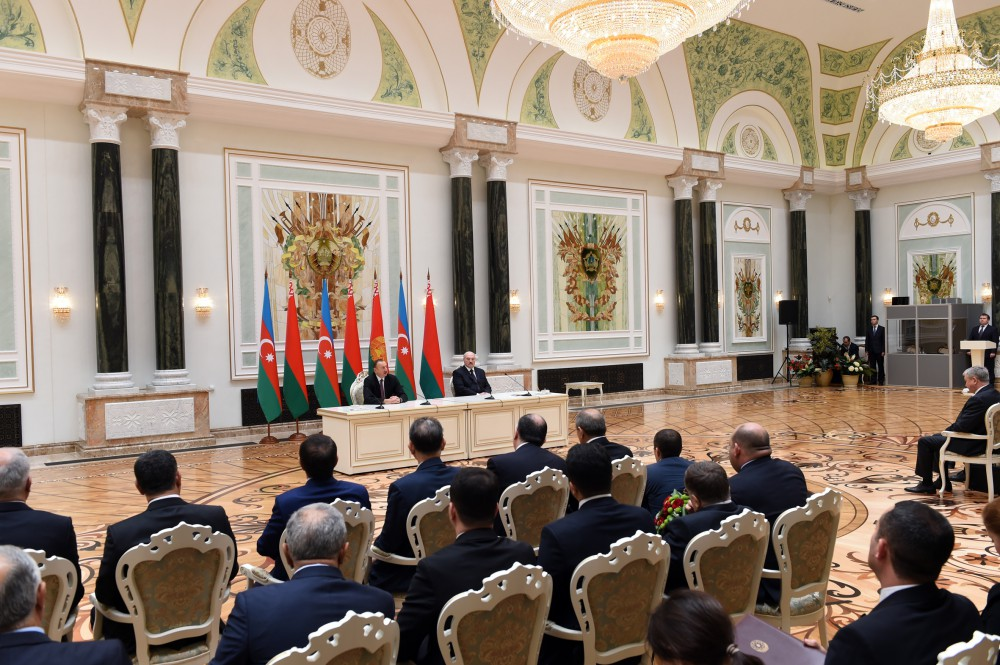 Presidents of Azerbaijan and Belarus made statements for the press VIDEO