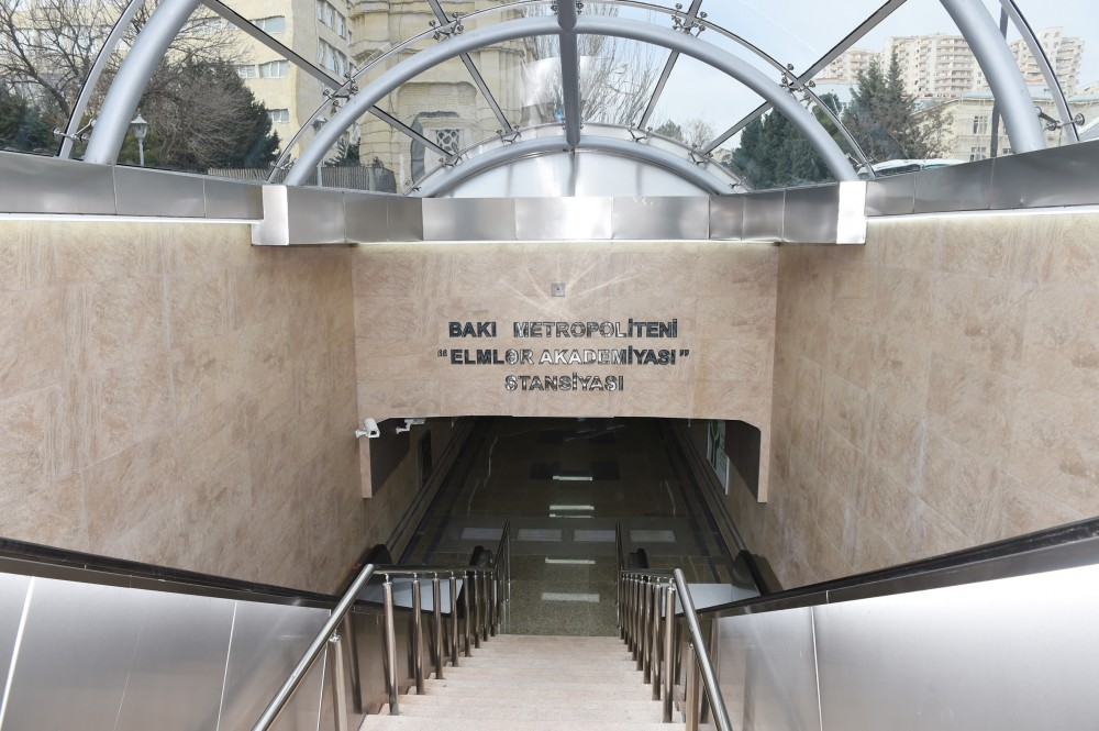 "President Ilham Aliyev attended the opening of the second exit of ""Elmler Akademiyası"" metro station VIDEO"