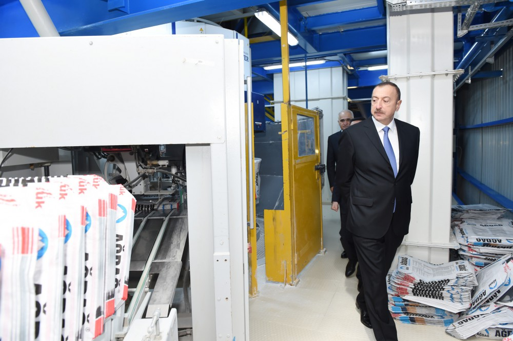 President Ilham Aliyev attended the opening of Yeni Agdag gypsum plant VIDEO
