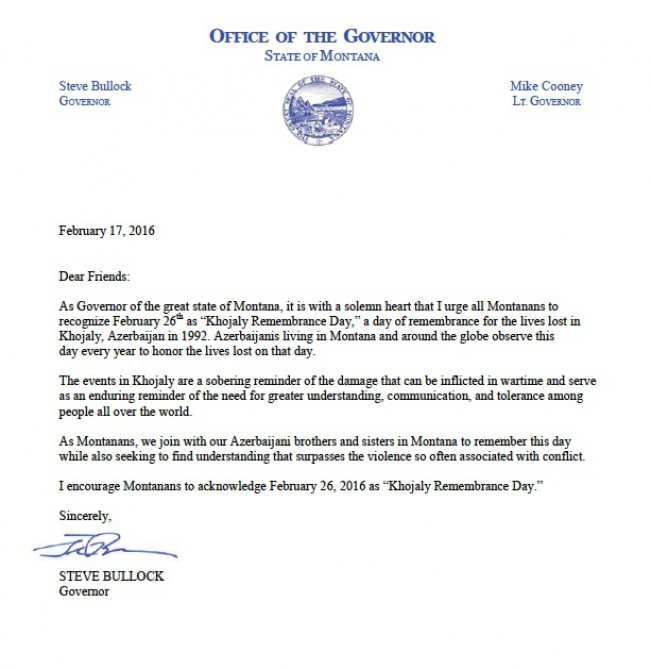"U.S. State of Montana proclaims ""Khojaly Remembrance Day"""