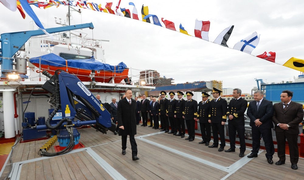 "President Ilham Aliyev attended ceremony to launch ""Ufuq"", ""Zafar"" and ""Turan"" passenger ships VIDEO"