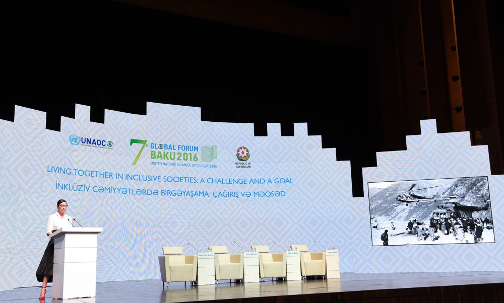Azerbaijani first lady Mehriban Aliyeva addresses 2nd Plenary Session of UNAOC Global Forum VIDEO