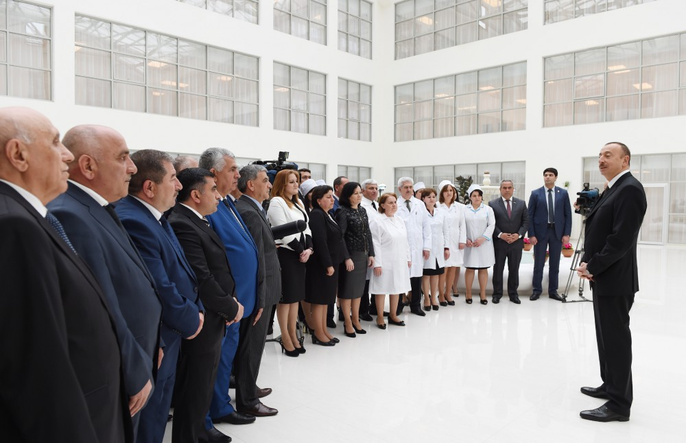 President Ilham Aliyev attended the opening of a new building of Aghsu District Central Hospital VIDEO