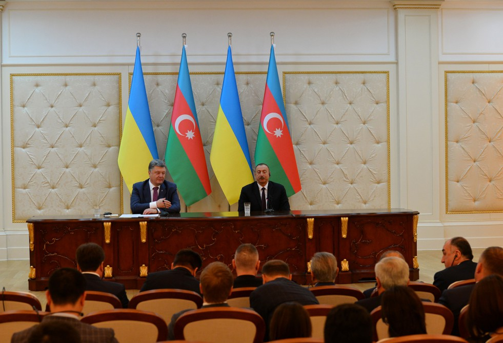 President Ilham Aliyev and President Petro Poroshenko made statements for the press VIDEO