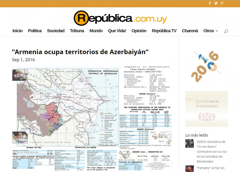 Another Armenian provocation responded in Uruguayan press