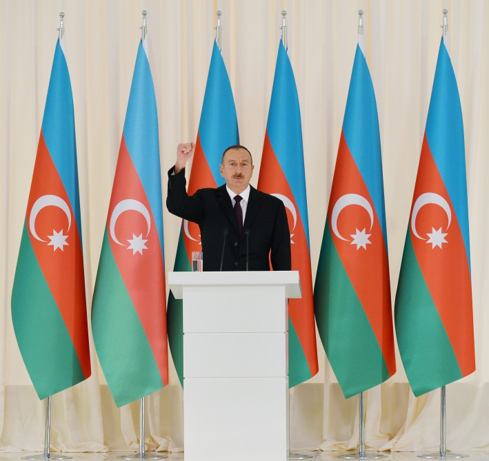 Official reception was held to mark 25th anniversary of restoration of Azerbaijan`s state independence President Ilham Aliyev attended the reception VIDEO