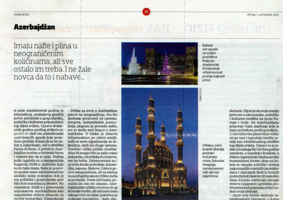 Croatian newspaper publishes article about Azerbaijan