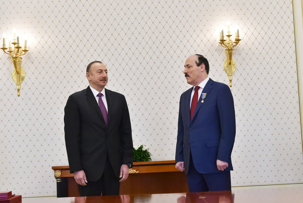 President Ilham Aliyev received delegation led by head of the Republic of Dagestan of the Russian Federation Ramazan Abdulatipov  VIDEO