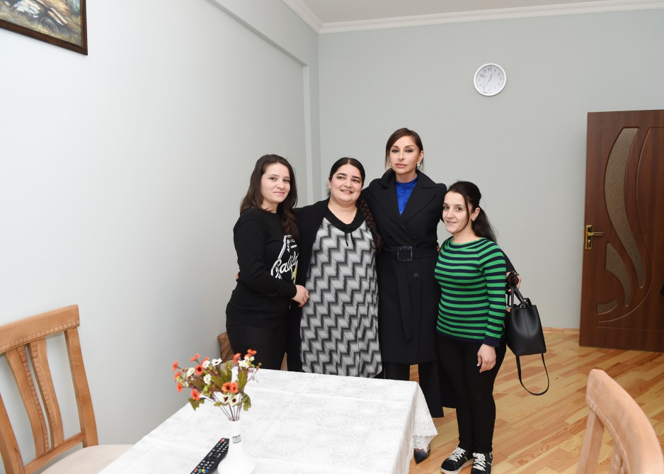 Azerbaijan`s first lady Mehriban Aliyeva opens residential building for graduates of orphanages in Masazir