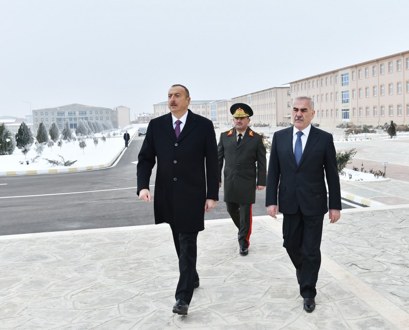 President Ilham Aliyev attended opening of soldier dormitory and military-household complex in military unit of Detached Combined Arms Army VIDEO