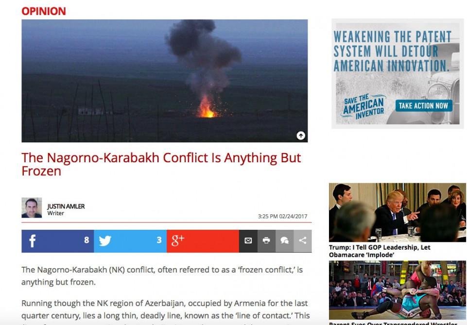 """ABŞ-ın """"The Daily Caller"""" qəzetində Ermənistanın işğalçılıq siyasəti barədə ..."""