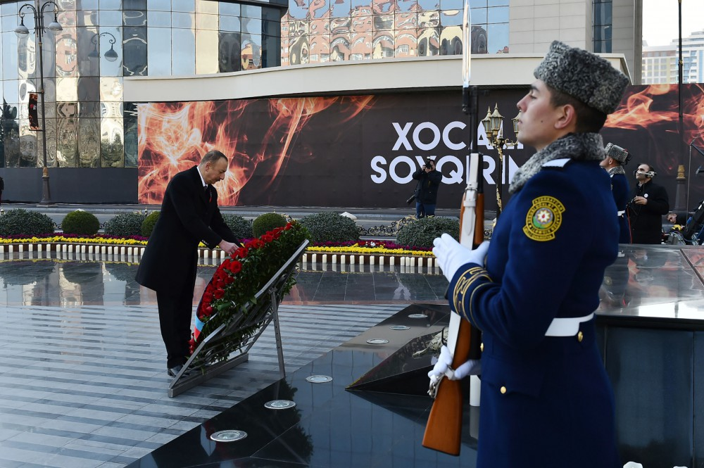 Nationwide march to commemorate 25th anniversary of Khojaly genocide held in Baku President Ilham Aliyev and First Vice-President Mehriban Aliyeva joined the march  VIDEO