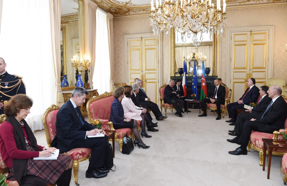 President Ilham Aliyev met with President of French Senate in Paris VIDEO