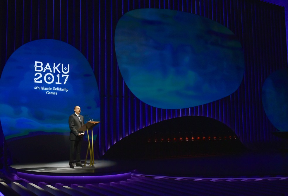 Baku 2017 Islamic Solidarity Games journey starts from the Caspian President of Azerbaijan Ilham Aliyev attended the ceremony VIDEO