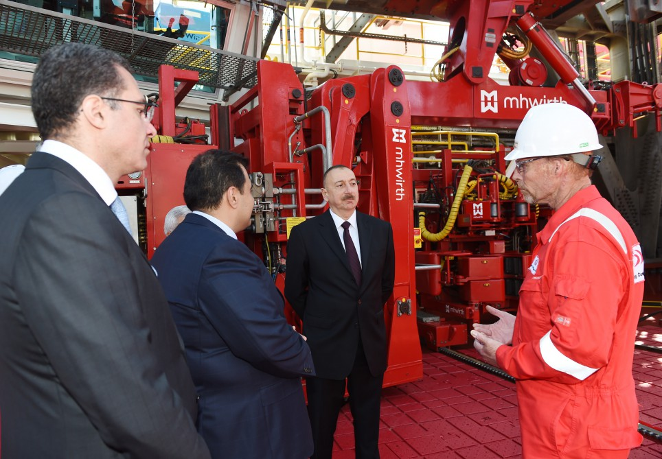President Ilham Aliyev attended opening of drilling plant after Heydar Aliyev VIDEO