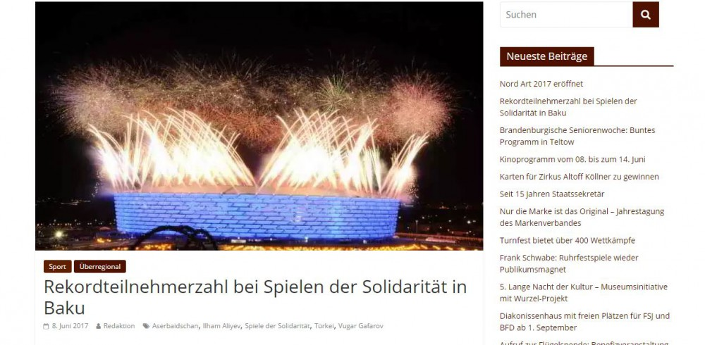 Teltower Stadtblatt newspaper: 4th Islamic Solidarity Games saw record number of participants