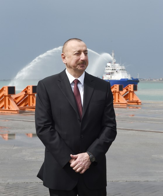 President Ilham Aliyev attended opening of Baku International Sea Trade Port Complex VIDEO