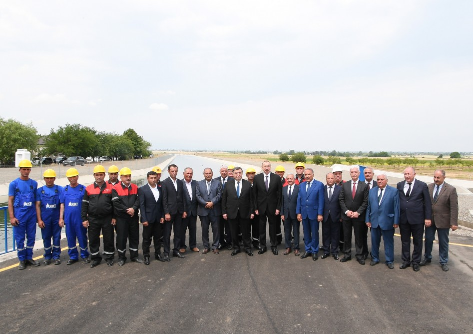 President Ilham Aliyev attended opening of Shamkir-Samukh-Goranboy main irrigation canal`s crossing installation with Silk Road and its 4.95km section VIDEO