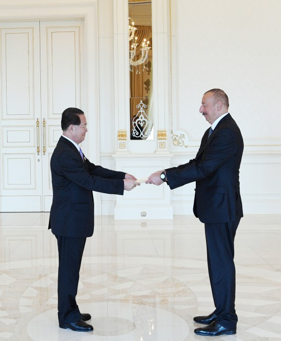 President Ilham Aliyev received credentials of incoming ambassador of Democratic People's Republic of Korea VIDEO