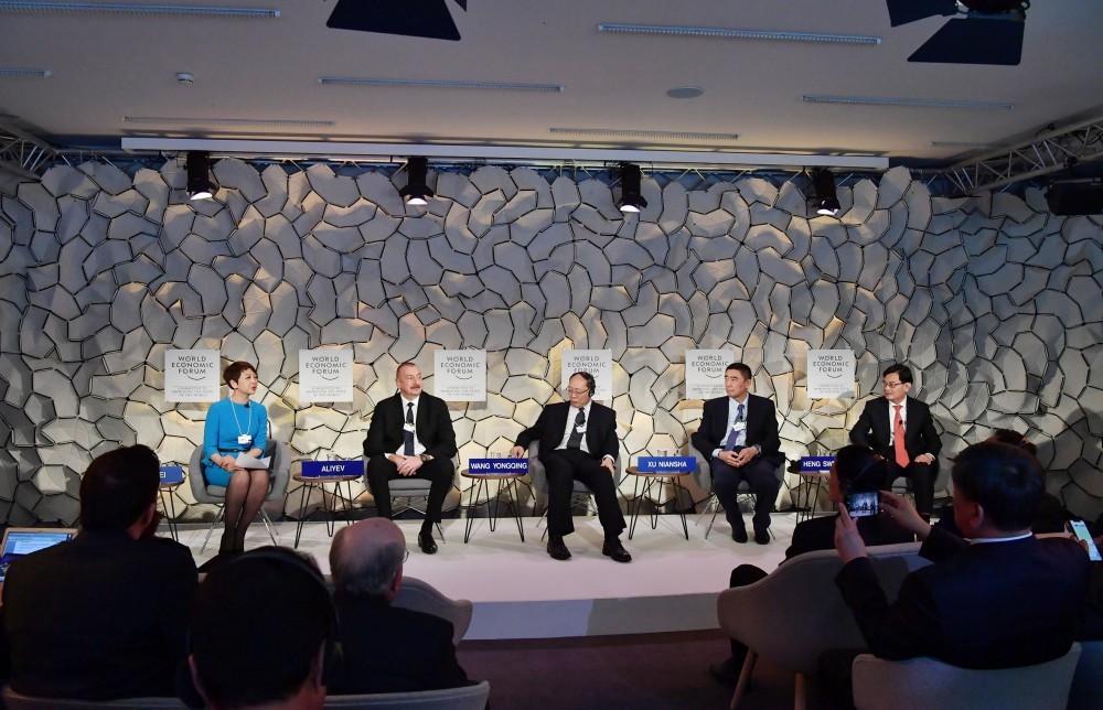 "President Ilham Aliyev attended ""Advancing the Belt and Road Initiative: China`s Trillion Dollar Vision"" session in Davos VIDEO"