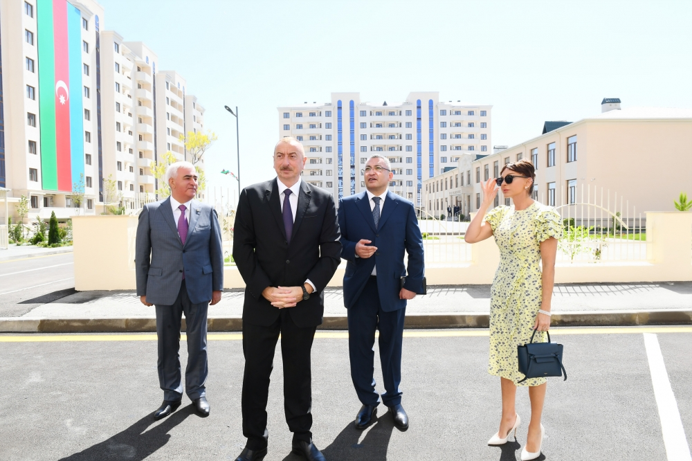 President Ilham Aliyev attended opening of new residential complex for IDPs in Pirallahi district, Baku VIDEO