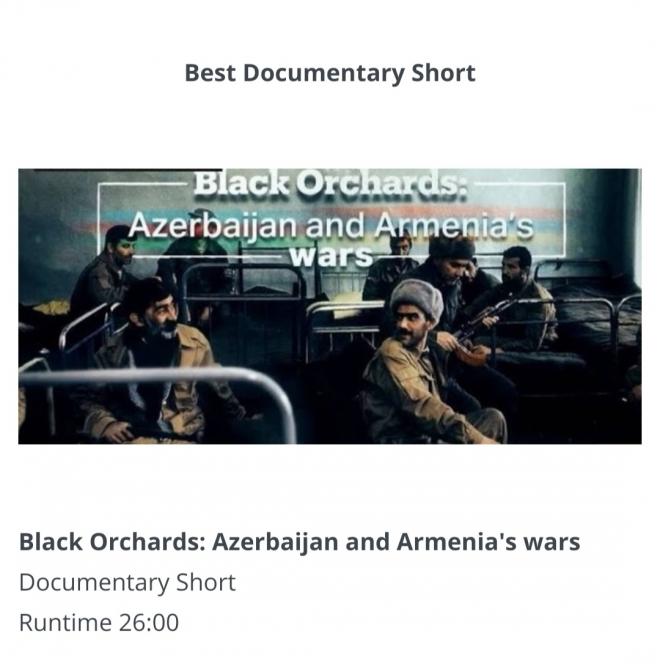 "'Black Orchards: Azerbaijan and Armenia's Wars"" receives best short documentary award in Hollywood International Moving Pictures Film Festival"