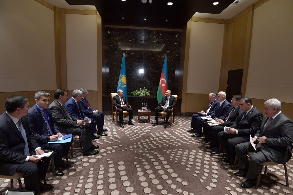 President Ilham Aliyev met with first President of Kazakhstan-Elbasy, Honorary President of Turkic Council Nursultan Nazarbayev  VIDEO