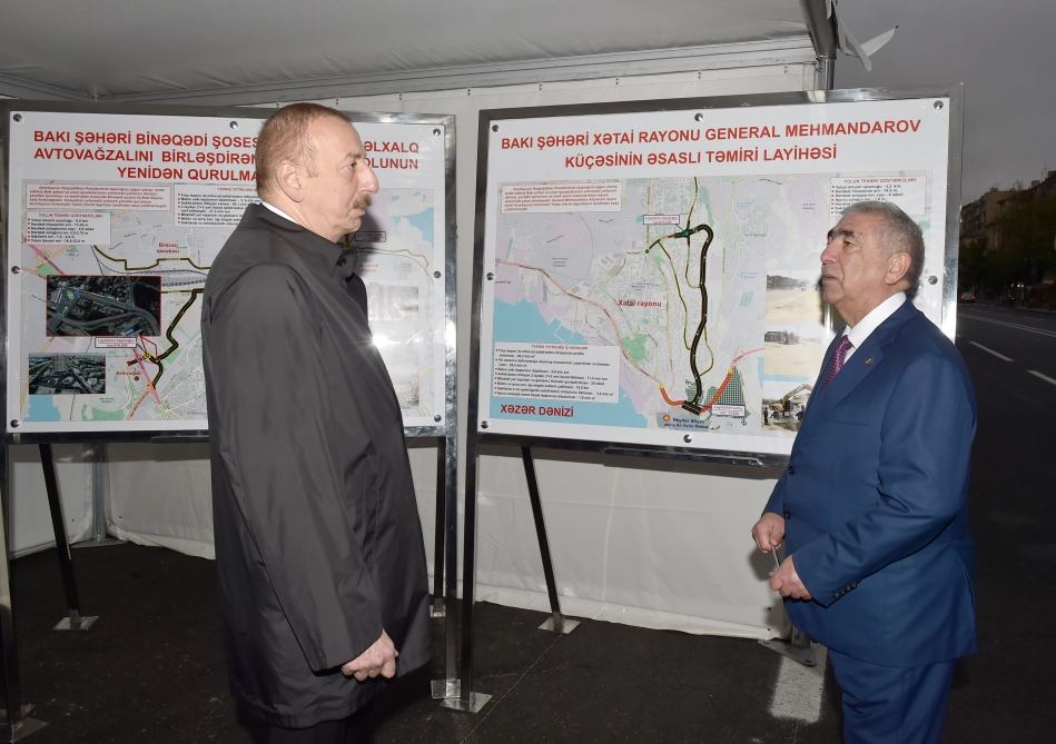 President Ilham Aliyev viewed renovation work done on section of Shafayat Mehdiyev Street from Tbilisi Avenue to Landau Street  VIDEO