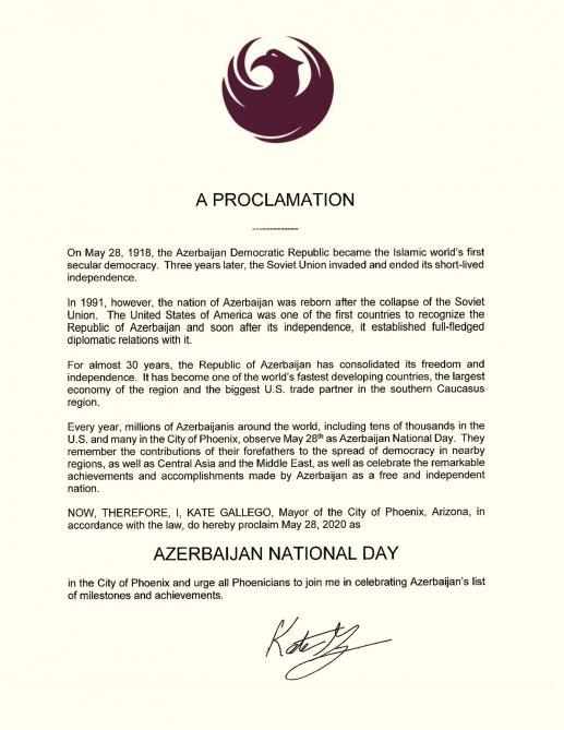 ABŞ-ın Arizona ştatının paytaxtında 28 may Azərbaycan Milli Günü elan edilib
