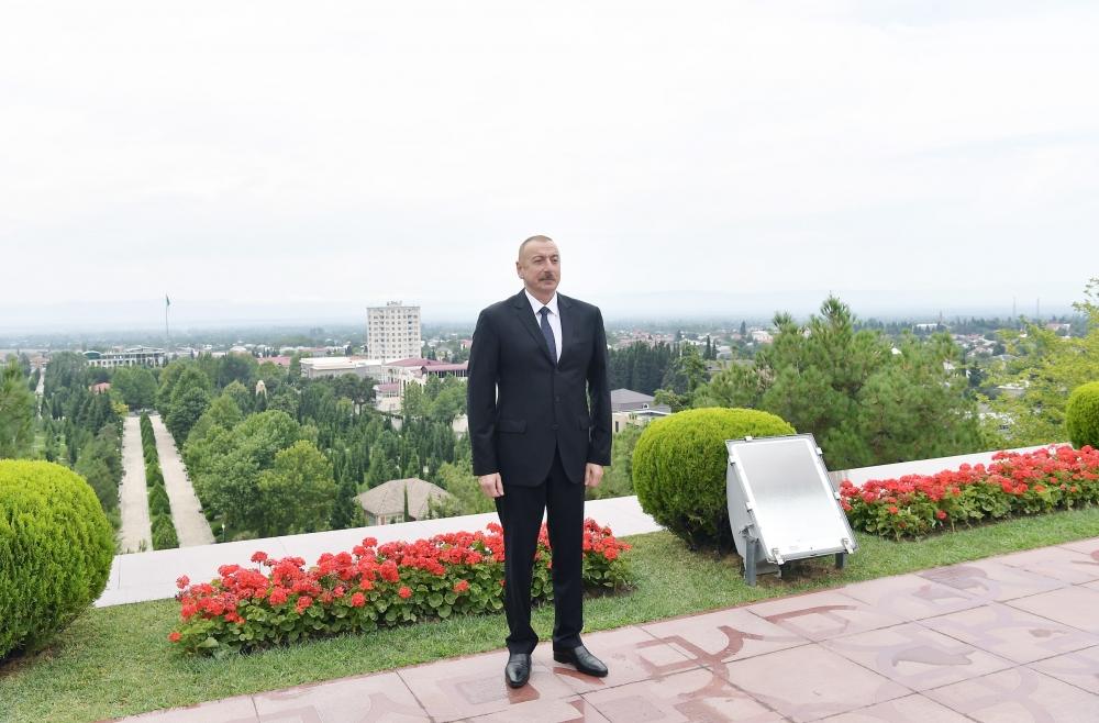 President Ilham Aliyev arrived in Balakan district for visit VIDEO