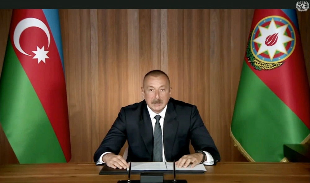 President Ilham Aliyev made a speech at general debates of 75th session of United Nations General Assembly in a video format VIDEO