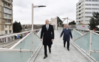 President Ilham Aliyev viewed work done as part of expanding Baku-Sumgayit highway  The head of state also attended inauguration of pedestrian crossing at the intersection of Moscow Avenue and 20 January Street